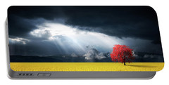 Red Tree On Canola Meadow Portable Battery Charger