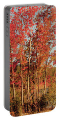 Portable Battery Charger featuring the photograph Red Trees by Iris Greenwell