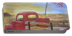 Red Truck Portable Battery Charger by Debbie Baker