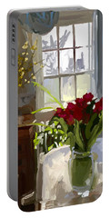 Red Tulips And Forsythia In East Gloucester, Ma Dining Room Portable Battery Charger