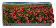 Red Tulips Field Portable Battery Charger by Mihaela Pater