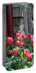Red Tulips In A Wisconsin Garden Portable Battery Charger
