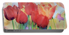 Watercolor Of Blooming Red Tulips In Spring Portable Battery Charger