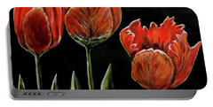 Red Tulips Portable Battery Charger by Judy Kirouac