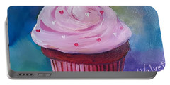 Portable Battery Charger featuring the painting Red Velvet Cupcake by Judy Fischer Walton