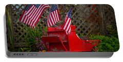 Red Wagon With Flags Portable Battery Charger