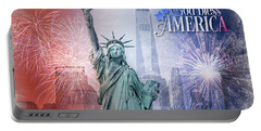 Red, White And Blue Portable Battery Charger