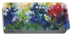 Red White And Bluebonnets Watercolor Painting By Kmcelwaine Portable Battery Charger