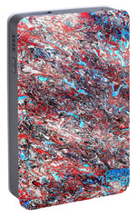 Portable Battery Charger featuring the painting Red White Blue And Black Drip Abstract by Genevieve Esson