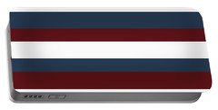 Red White Blue Stripes Portable Battery Charger by P S