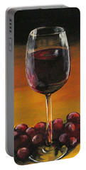 Red Wine And Red Grapes Portable Battery Charger