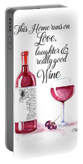 Portable Battery Charger featuring the digital art Red Wine by Colleen Taylor
