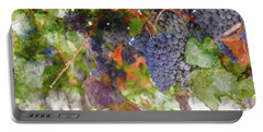 Red Wine Grapes On The Vine In Wine Country Portable Battery Charger