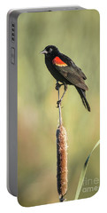 Portable Battery Charger featuring the photograph Red-wing On Cattail by Robert Frederick