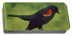 Red-winged Blackbird On A Rail Portable Battery Charger