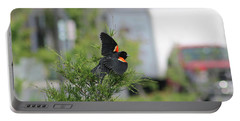 Red-winged Blackbird Portable Battery Charger by Robert Banach