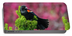 Red Winged Blackbird With Crabapple Blossoms Portable Battery Charger