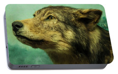 Portable Battery Charger featuring the digital art Red Wolf Digital Art by Chris Flees