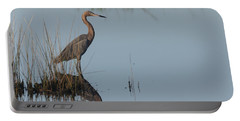 Reddish Egret And Reflection In The Morning Light Portable Battery Charger