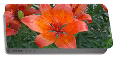 Reddish Orange Flower Portable Battery Charger by Catherine Gagne