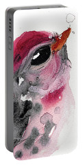 Portable Battery Charger featuring the painting Redpole by Dawn Derman