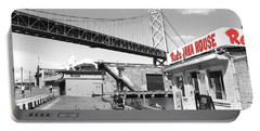 Reds Java House And The Bay Bridge In San Francisco Embarcadero . Black And White And Red Portable Battery Charger