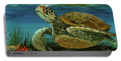 Portable Battery Charger featuring the painting Reef Honu by Darice Machel McGuire