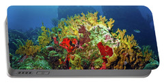 Reef Scene With Divers Bubbles Portable Battery Charger
