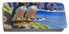 Reflecting - Horned Puffins - Coastal Alaska Landscape Portable Battery Charger by Karen Whitworth