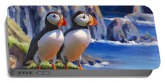 Horned Puffins - Coastal Decor - Alaska Landscape - Ocean Birds - Shorebirds Portable Battery Charger