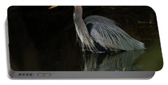 Reflection Of A Heron Portable Battery Charger by George Randy Bass