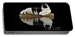 Reflection Of Black And White Cat Portable Battery Charger