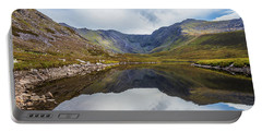 Reflection Of Macgillycuddy's Reeks And Carrauntoohil In Lough E Portable Battery Charger by Semmick Photo