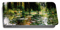 Reflection On Oscar - Claude Monet's Garden Pond Portable Battery Charger