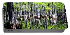 Reflections Of A Cypress Forest Portable Battery Charger by Tara Potts
