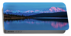 Sunset Reflections Of Denali In Wonder Lake Portable Battery Charger