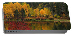 Reflections Of Fall Beauty 2 Portable Battery Charger by Lynn Hopwood