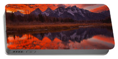 Reflections Of Orange In The Snake River Portable Battery Charger