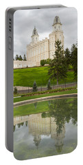Reflections Of The Manti Temple At Pioneer Heritage Gardens Portable Battery Charger