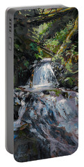 Portable Battery Charger featuring the painting Refreshed - Rainforest Waterfall Impressionistic Painting by Karen Whitworth