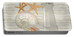 Refreshing Shores - Lighthouse Starfish Nautilus N Conch Over Driftwood Background Portable Battery Charger