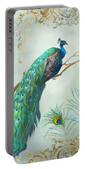Regal Peacock 1 On Tree Branch W Feathers Gold Leaf Portable Battery Charger