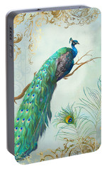 Regal Peacock 1 On Tree Branch W Feathers Gold Leaf Portable Battery Charger by Audrey Jeanne Roberts