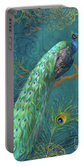 Portable Battery Charger featuring the painting Regal Peacock 3 Midnight by Audrey Jeanne Roberts