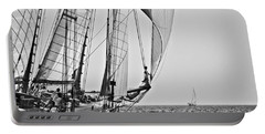 Regatta Heroes In A Calm Mediterranean Sea In Black And White Portable Battery Charger