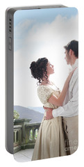 Regency Couple Embracing On The Terrace Portable Battery Charger