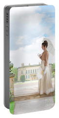 Regency Woman In The Grounds Of A Historic Mansion Portable Battery Charger