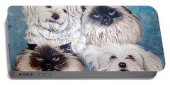 Reigning Cats N Dogs Portable Battery Charger by Nancy Cupp