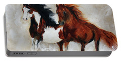 Portable Battery Charger featuring the painting Rein And Dancer by Barbie Batson