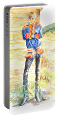 Reindeer Boy -- Portrait Of Young Laplander Man Portable Battery Charger